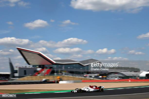 Charles Leclerc of Monaco driving the Alfa Romeo Sauber F1 Team C37 Ferrari on track during qualifying for the Formula One Grand Prix of Great...