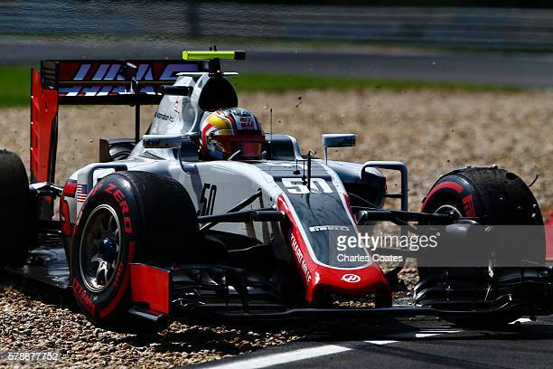 Charles Leclerc of Monaco driving the Haas F1 Team HaasFerrari VF16 Ferrari 059/5 turbo spins into the gravel trap during practice for the Formula...