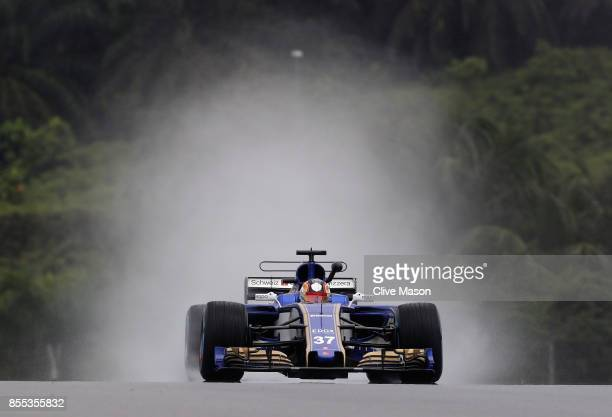 Charles Leclerc of Monaco driving the Sauber F1 Team Sauber C36 Ferrari on track during practice for the Malaysia Formula One Grand Prix at Sepang...