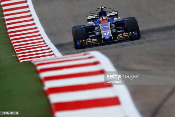 Charles Leclerc of Monaco driving the Sauber F1 Team Sauber C36 Ferrari on track during practice for the United States Formula One Grand Prix at...