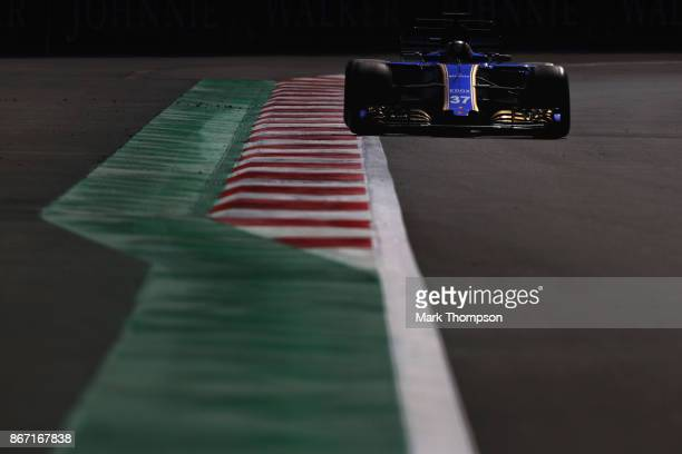 Charles Leclerc of Monaco driving the Sauber F1 Team Sauber C36 Ferrari on track during practice for the Formula One Grand Prix of Mexico at...