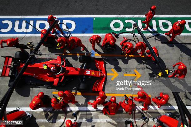 Charles Leclerc of Monaco driving the Scuderia Ferrari SF1000 comes in for a tyre change during the F1 Grand Prix of Italy at Autodromo di Monza on...