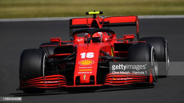 Charles Leclerc of Monaco driving the Scuderia Ferrari SF1000 drives on track during the F1 Grand Prix of Great Britain at Silverstone on August 02...