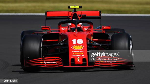 Charles Leclerc of Monaco driving the Scuderia Ferrari SF1000 during the F1 Grand Prix of Great Britain at Silverstone on August 02 2020 in...