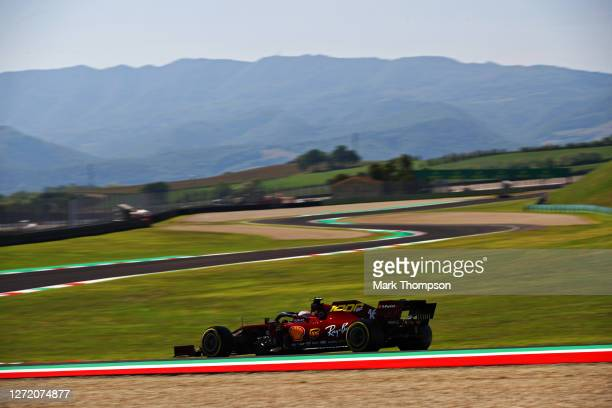 Charles Leclerc of Monaco driving the Scuderia Ferrari SF1000 during final practice ahead of the F1 Grand Prix of Tuscany at Mugello Circuit on...