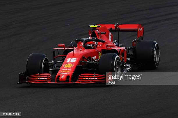 Charles Leclerc of Monaco driving the Scuderia Ferrari SF1000 on track during the F1 Grand Prix of Great Britain at Silverstone on August 02 2020 in...