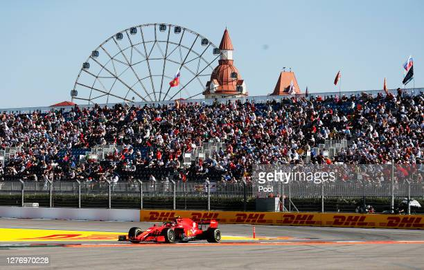 Charles Leclerc of Monaco driving the Scuderia Ferrari SF1000 on track during the F1 Grand Prix of Russia at Sochi Autodrom on September 27, 2020 in...