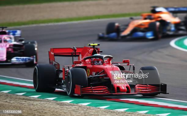 Charles Leclerc of Monaco driving the Scuderia Ferrari SF1000 on track during the F1 Grand Prix of Emilia Romagna at Autodromo Enzo e Dino Ferrari on...