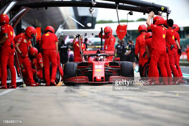 Charles Leclerc of Monaco driving the Scuderia Ferrari SF1000 stops in the Pitlin the Paddock during practice for the F1 70th Anniversary Grand Prix...