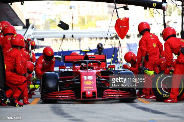 Charles Leclerc of Monaco driving the Scuderia Ferrari SF1000 stops in the Pitlane during the F1 Grand Prix of Russia at Sochi Autodrom on September...