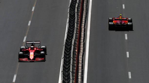 Charles Leclerc of Monaco driving the Scuderia Ferrari SF21 and Carlos Sainz of Spain driving the Scuderia Ferrari SF21 on track during final...