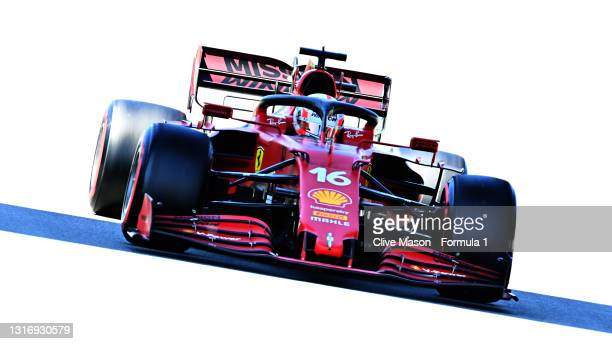 Charles Leclerc of Monaco driving the Scuderia Ferrari SF21 drives during final practice for the F1 Grand Prix of Spain at Circuit de...