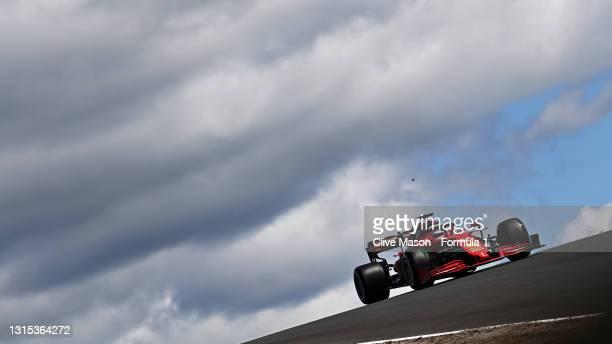 Charles Leclerc of Monaco driving the Scuderia Ferrari SF21 during practice ahead of the F1 Grand Prix of Portugal at Autodromo Internacional Do...