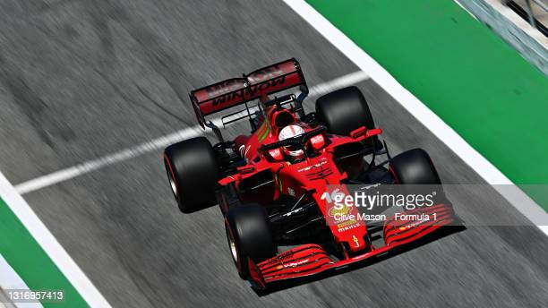 Charles Leclerc of Monaco driving the Scuderia Ferrari SF21 during qualifying for the F1 Grand Prix of Spain at Circuit de Barcelona-Catalunya on May...