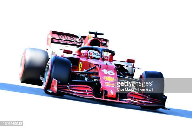 Charles Leclerc of Monaco driving the Scuderia Ferrari SF21 during final practice for the F1 Grand Prix of Spain at Circuit de Barcelona-Catalunya on...