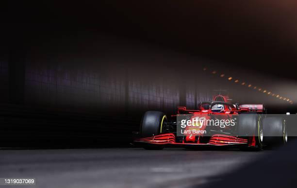 Charles Leclerc of Monaco driving the Scuderia Ferrari SF21 during practice ahead of the F1 Grand Prix of Monaco at Circuit de Monaco on May 20, 2021...