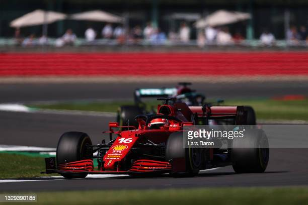 Charles Leclerc of Monaco driving the Scuderia Ferrari SF21 during the F1 Grand Prix of Great Britain at Silverstone on July 18, 2021 in Northampton,...