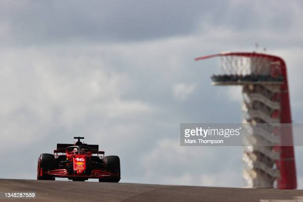 Charles Leclerc of Monaco driving the Scuderia Ferrari SF21 during final practice ahead of the F1 Grand Prix of USA at Circuit of The Americas on...