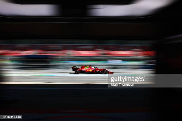 Charles Leclerc of Monaco driving the Scuderia Ferrari SF21 in the Pitlane during qualifying for the F1 Grand Prix of Spain at Circuit de...