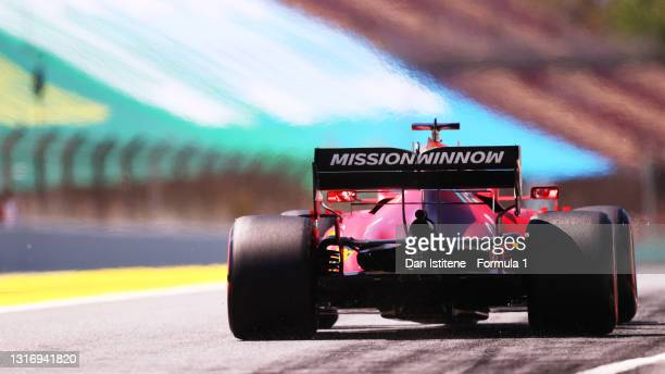 Charles Leclerc of Monaco driving the Scuderia Ferrari SF21 leaves the pitlane during final practice for the F1 Grand Prix of Spain at Circuit de...