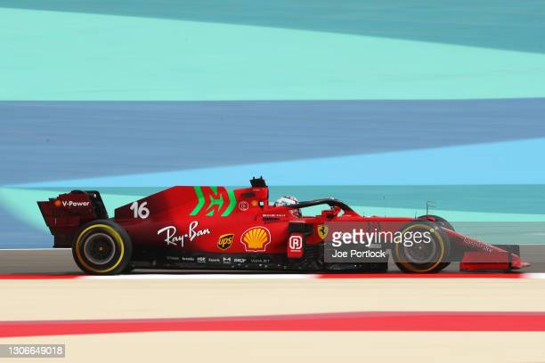 Charles Leclerc of Monaco driving the Scuderia Ferrari SF21 on track during Day One of F1 Testing at Bahrain International Circuit on March 12, 2021...