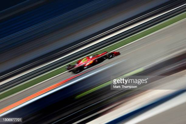 Charles Leclerc of Monaco driving the Scuderia Ferrari SF21 on track during Day Three of F1 Testing at Bahrain International Circuit on March 14,...