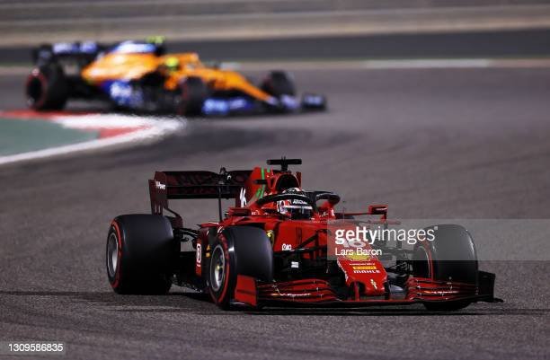 Charles Leclerc of Monaco driving the Scuderia Ferrari SF21 on track during the F1 Grand Prix of Bahrain at Bahrain International Circuit on March...