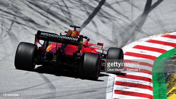 Charles Leclerc of Monaco driving the Scuderia Ferrari SF21 on track during final practice for the F1 Grand Prix of Spain at Circuit de...