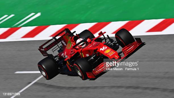 Charles Leclerc of Monaco driving the Scuderia Ferrari SF21 on track during qualifying for the F1 Grand Prix of Spain at Circuit de...