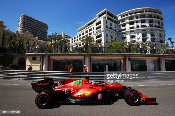 Charles Leclerc of Monaco driving the Scuderia Ferrari SF21 on track during practice ahead of the F1 Grand Prix of Monaco at Circuit de Monaco on May...