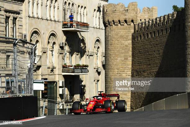 Charles Leclerc of Monaco driving the Scuderia Ferrari SF21 on track during practice ahead of the F1 Grand Prix of Azerbaijan at Baku City Circuit on...