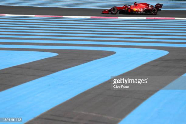 Charles Leclerc of Monaco driving the Scuderia Ferrari SF21 on track during practice ahead of the F1 Grand Prix of France at Circuit Paul Ricard on...