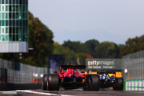 Charles Leclerc of Monaco driving the Scuderia Ferrari SF21 to the grid before the F1 Grand Prix of Italy at Autodromo di Monza on September 12, 2021...