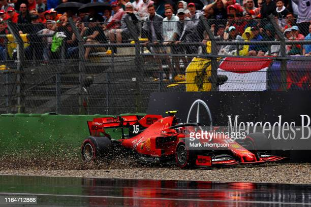 Charles Leclerc of Monaco driving the Scuderia Ferrari SF90 crashes during the F1 Grand Prix of Germany at Hockenheimring on July 28 2019 in...