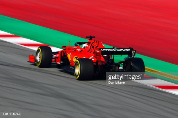 Charles Leclerc of Monaco driving the Scuderia Ferrari SF90 during day four of F1 Winter Testing at Circuit de Catalunya on February 21, 2019 in...