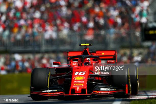 Charles Leclerc of Monaco driving the Scuderia Ferrari SF90 during the F1 Grand Prix of Canada at Circuit Gilles Villeneuve on June 9, 2019 in...