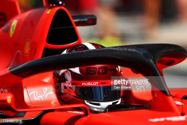 Charles Leclerc of Monaco driving the Scuderia Ferrari SF90 in the Pitlane during qualifying for the F1 Grand Prix of Canada at Circuit Gilles...