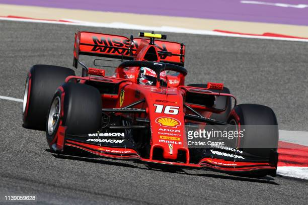 Charles Leclerc of Monaco driving the Scuderia Ferrari SF90 on trackduring practice for the F1 Grand Prix of Bahrain at Bahrain International Circuit...