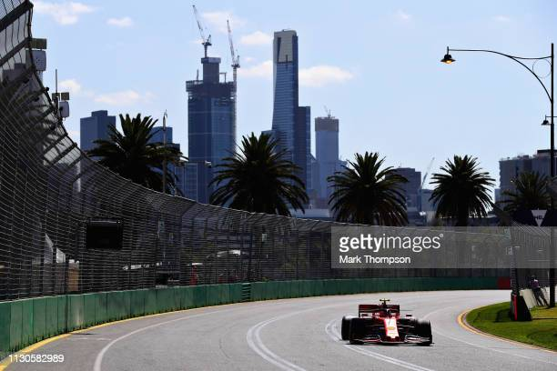 Charles Leclerc of Monaco driving the Scuderia Ferrari SF90 on track during practice for the F1 Grand Prix of Australia at Melbourne Grand Prix...