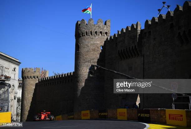 Charles Leclerc of Monaco driving the Scuderia Ferrari SF90 on track during the F1 Grand Prix of Azerbaijan at Baku City Circuit on April 28, 2019 in...
