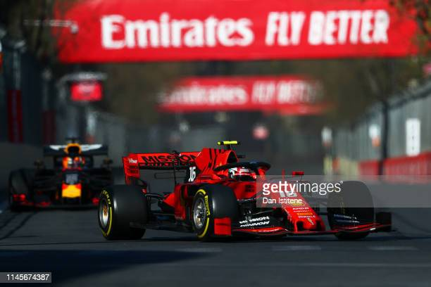 Charles Leclerc of Monaco driving the Scuderia Ferrari SF90 on track during the F1 Grand Prix of Azerbaijan at Baku City Circuit on April 28, 2019 in...