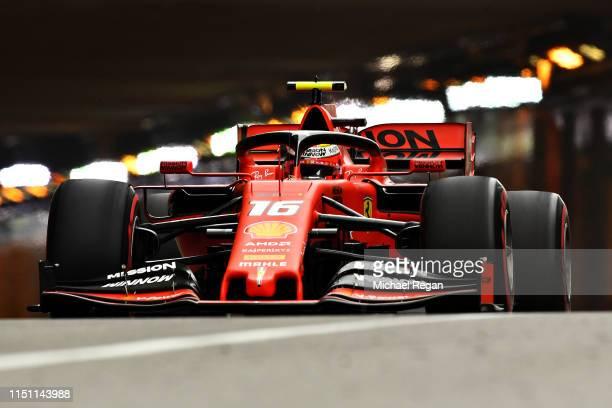 Charles Leclerc of Monaco driving the Scuderia Ferrari SF90 on track during practice for the F1 Grand Prix of Monaco at Circuit de Monaco on May 23,...