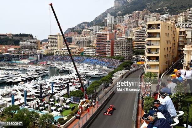 Charles Leclerc of Monaco driving the Scuderia Ferrari SF90 on track during final practice for the F1 Grand Prix of Monaco at Circuit de Monaco on...