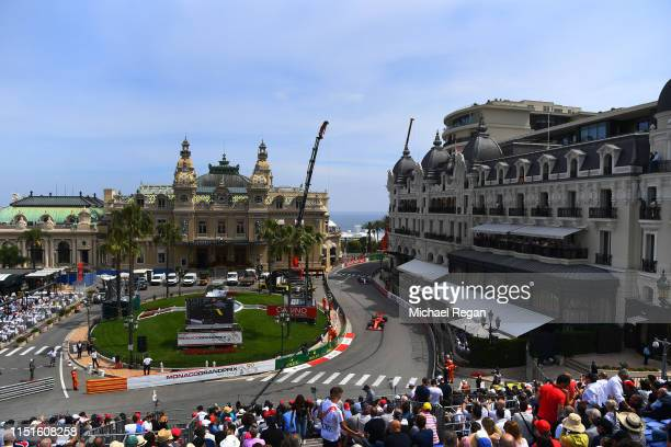 Charles Leclerc of Monaco driving the Scuderia Ferrari SF90 on track during qualifying for the F1 Grand Prix of Monaco at Circuit de Monaco on May 25...