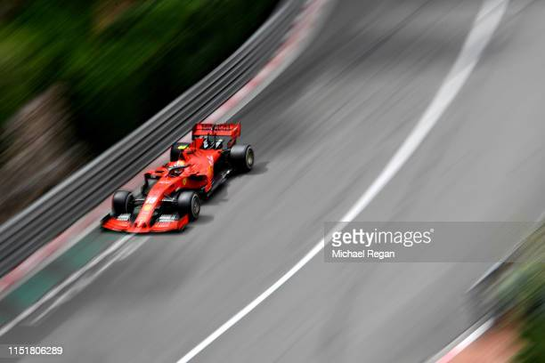 Charles Leclerc of Monaco driving the Scuderia Ferrari SF90 on track during the F1 Grand Prix of Monaco at Circuit de Monaco on May 26 2019 in...