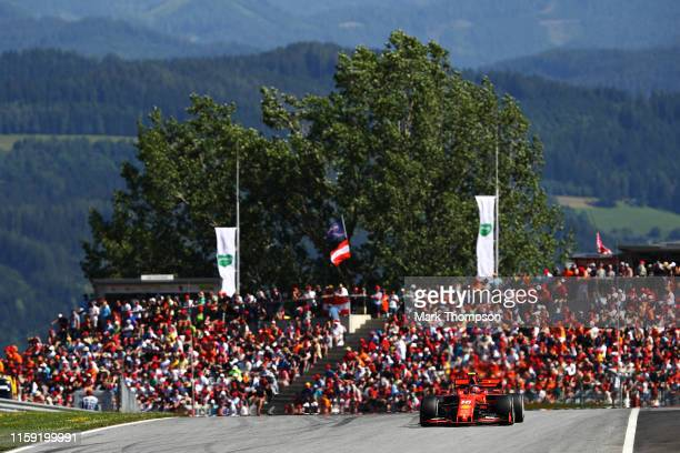 Charles Leclerc of Monaco driving the Scuderia Ferrari SF90 on track during the F1 Grand Prix of Austria at Red Bull Ring on June 30, 2019 in...