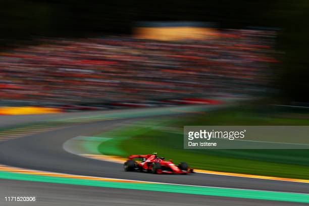 Charles Leclerc of Monaco driving the Scuderia Ferrari SF90 on track during the F1 Grand Prix of Belgium at Circuit de SpaFrancorchamps on September...