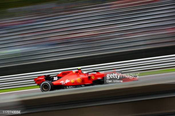 Charles Leclerc of Monaco driving the Scuderia Ferrari SF90 on track during practice for the F1 Grand Prix of Italy at Autodromo di Monza on...