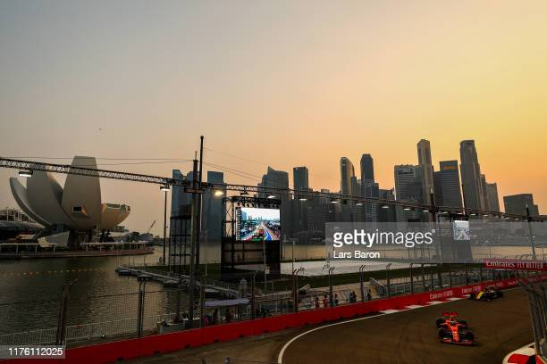 Charles Leclerc of Monaco driving the Scuderia Ferrari SF90 on track during final practice for the F1 Grand Prix of Singapore at Marina Bay Street...