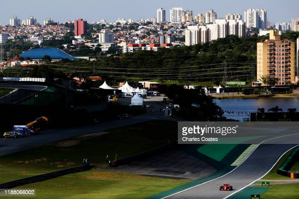 Charles Leclerc of Monaco driving the Scuderia Ferrari SF90 on track during qualifying for the F1 Grand Prix of Brazil at Autodromo Jose Carlos Pace...